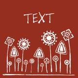 Höhlenmalereien der Vegetation, roter Hintergrund, Platz für Text Lizenzfreie Stockbilder