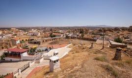 Höhlt Häuser von Guadix aus Stockfotografie