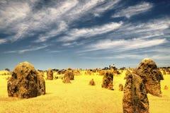 Höjdpunktöknen, Nambung nationalpark, västra Australien Fotografering för Bildbyråer