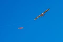 Hökdrakeflyg i blå himmel Fotografering för Bildbyråer