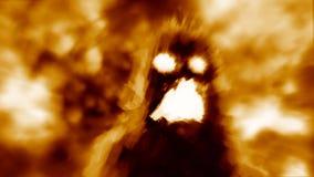 Höllischer Monsterschatten auf orange Hintergrund lizenzfreies stockbild