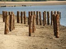 Hölzern erbläßt am Strand lizenzfreie stockfotos