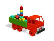 H?lzern, Spielzeuglastwagen geladen mit h?lzernen Spielwaren lizenzfreies stockfoto