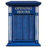 Hölzerne Öffnungszeiten Zeichen getrennt auf Weiß Lizenzfreie Stockbilder