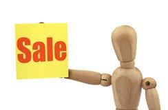 Hölzerne Abbildung mit Verkauf Stockfoto