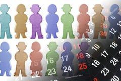 Hölzerne Abbildungen und Kalender-Seiten Stockfoto