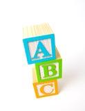 Hölzerne ABC-Blöcke Stockbild