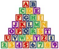 Hölzerne Alphabet-Blöcke Stockbild