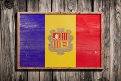 Hölzerne Andorra-Flagge Lizenzfreies Stockbild