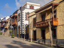 Hölzerne Balkone Teror Gran Canaria Spanien Lizenzfreies Stockbild