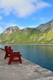 Hölzerne Bank gegen den norwegischen Fjord Stockfotografie