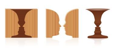 Hölzerne Beschaffenheit der Gesichts-Vasen-optischen Täuschung lizenzfreie stockbilder