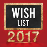 hölzerne Beschaffenheitszahl 2017 der Wunschliste mit Zielwort auf Tafel Stockfotos