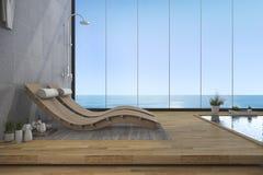 hölzerne Bettbank der Wiedergabe 3d nahe Pool- und Seeansicht vom Fenster Stockfotografie
