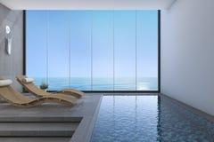 hölzerne Bettbank der Wiedergabe 3d nahe Pool- und Seeansicht vom Fenster mit modernem Stockfotos
