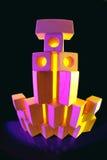 Hölzerne Blöcke in farbigem Licht Stockbilder