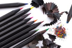 Hölzerne Bleistifte von verschiedenen Farben Stockbilder