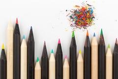 Hölzerne Bleistifte von verschiedenen Farben Stockbild