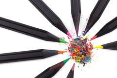 Hölzerne Bleistifte von verschiedenen Farben Stockfotografie