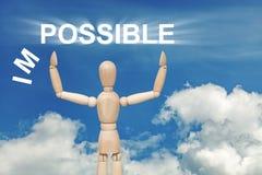 Hölzerne blinde Marionette auf Himmelhintergrund mit dem Wort UNMÖGLICH Lizenzfreies Stockfoto