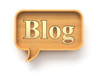 Hölzerne Blogspracheblase Lizenzfreies Stockfoto