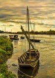 Hölzerne Boote auf Loire Valley lizenzfreies stockfoto