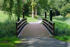 Hölzerne Brücke über einem Teich lizenzfreies stockfoto