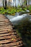 Hölzerne Brücke über Fluss Stockfotos