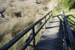 Hölzerne Brücke auf Gras Lizenzfreies Stockbild