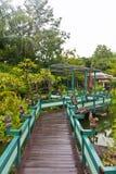 Hölzerne Brücke in der grünen Parkvertikale Stockfoto