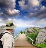 Hölzerne Brücke des szenischen Parks Stockfotografie