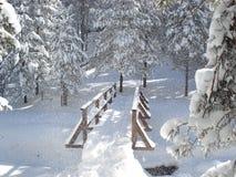 Hölzerne Brücke im Schnee Stockfoto