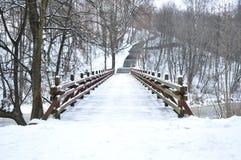 Hölzerne Brücke im Winter lizenzfreies stockbild