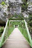 Hölzerne Brücke oder Gehweg durch den Berg stockfotos