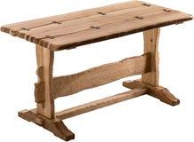 Hölzerne braune antike Tabelle lokalisiert auf weißem Hintergrund stockfotografie