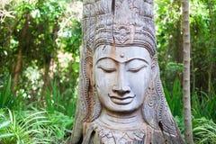 Hölzerne Buddha-Statue auf grünem Baumhintergrund stockfotografie