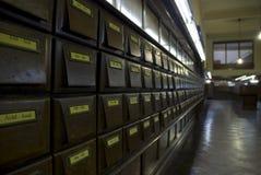 Hölzerne Datei der Bibliothek, Montevideo Stockfoto