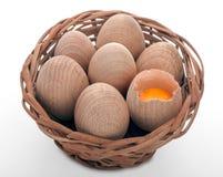Hölzerne Eier Stockfoto