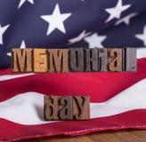 Hölzerne Fahne Memorial Day s Stockfoto