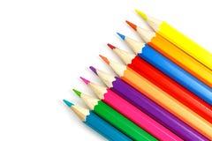 Hölzerne Farbe zeichnet auf einem weißen Hintergrund, Draufsicht an Lizenzfreie Stockfotos