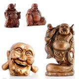 Hölzerne Figürchen, dekorative Figürchen, Buddha, Mönch stockbilder