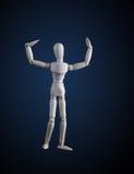 Hölzerne Figürchen, die Muskeln in der Bodybuilderhaltung auf Dunkelheitsrückseite biegt Lizenzfreie Stockfotografie