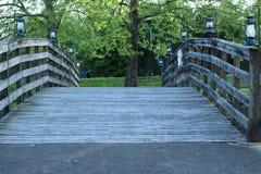 Hölzerne gehende Brücke mit Geländern lizenzfreies stockfoto
