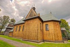 Hölzerne Gemeinde-Kirche der Unbefleckten Empfängnis in Spytkowice, Stockfotografie