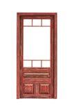 Hölzerne glasig-glänzende Tür ohne das Glas lokalisiert auf weißem Hintergrund stockbilder