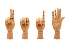 Hölzerne Hände, die Nr. 2015 bilden Stockfotos
