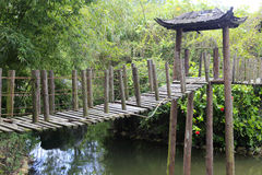 Hölzerne Hängebrücke Stockfotos