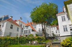 Hölzerne Häuser in Bergen stockfotografie