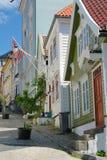 Hölzerne Häuser in Bergen Norwegen stockbilder