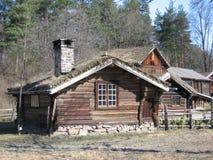 Hölzerne Häuser in Norwegen Stockfoto